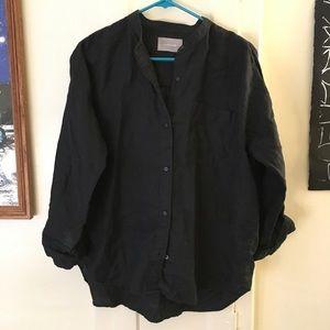 Everlane Black Linen Collarless Button Up